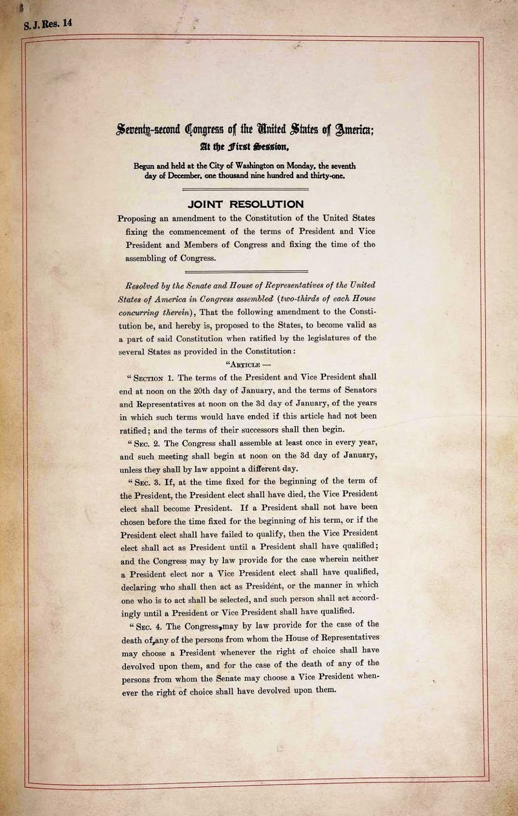 United States Constitution And Citizenship Day 20th Amendment