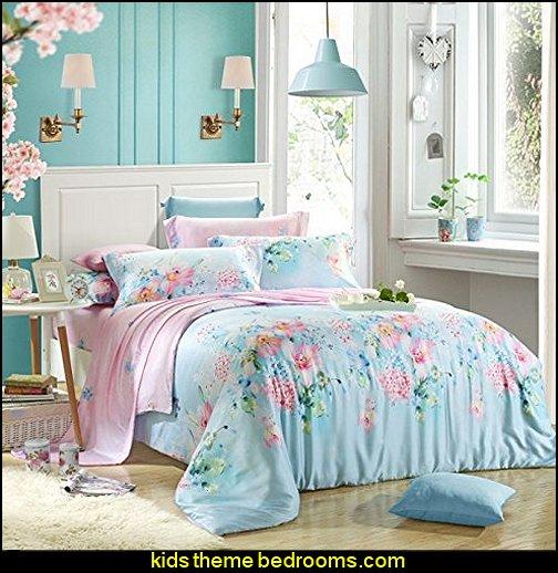 Blue Floral Print Duvet Cover Sets and Comforter Sets