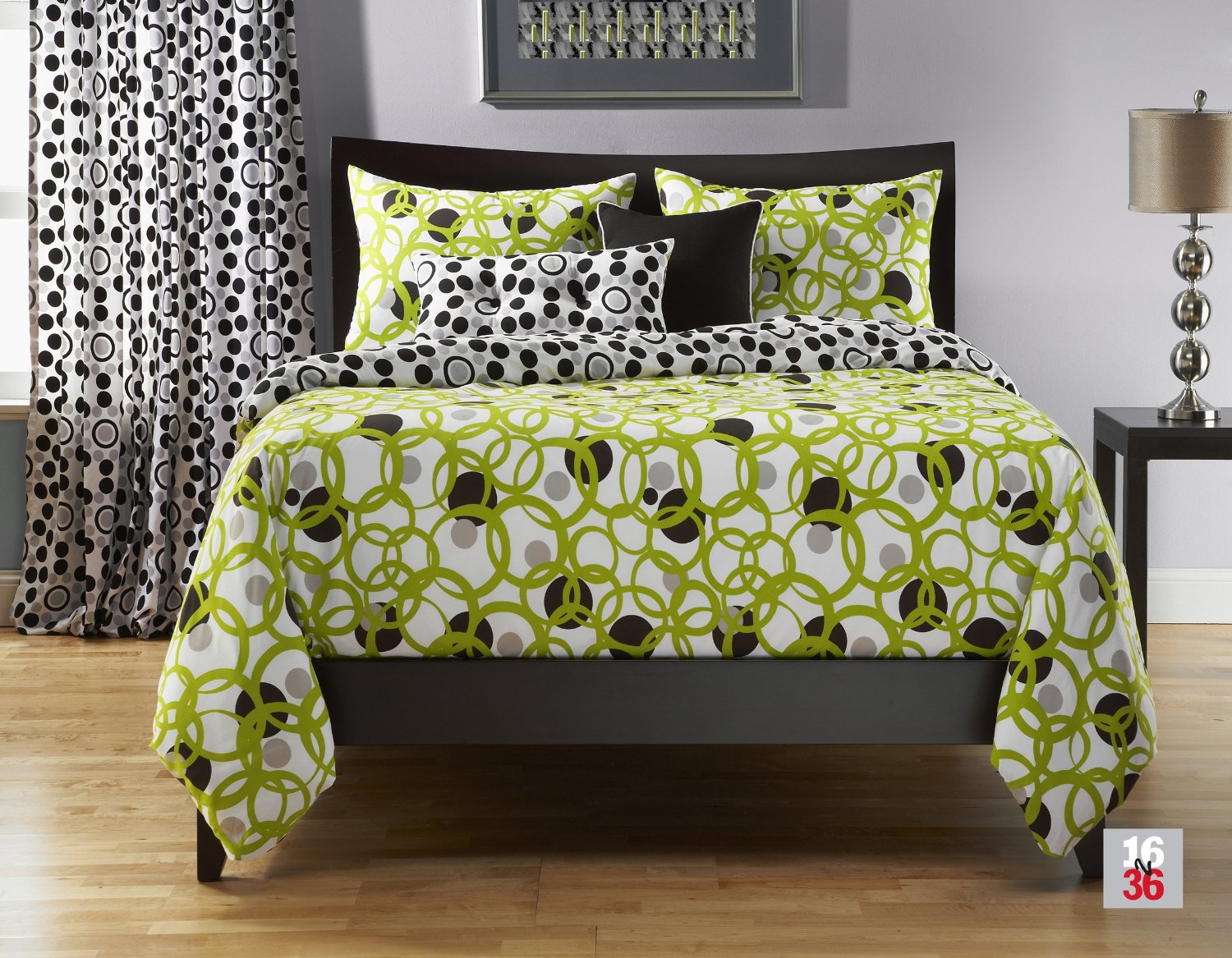 Total fab lime green black and white bedding for Black and lime green bedroom ideas