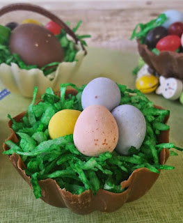 edible chocolate easter basket and candy eggs
