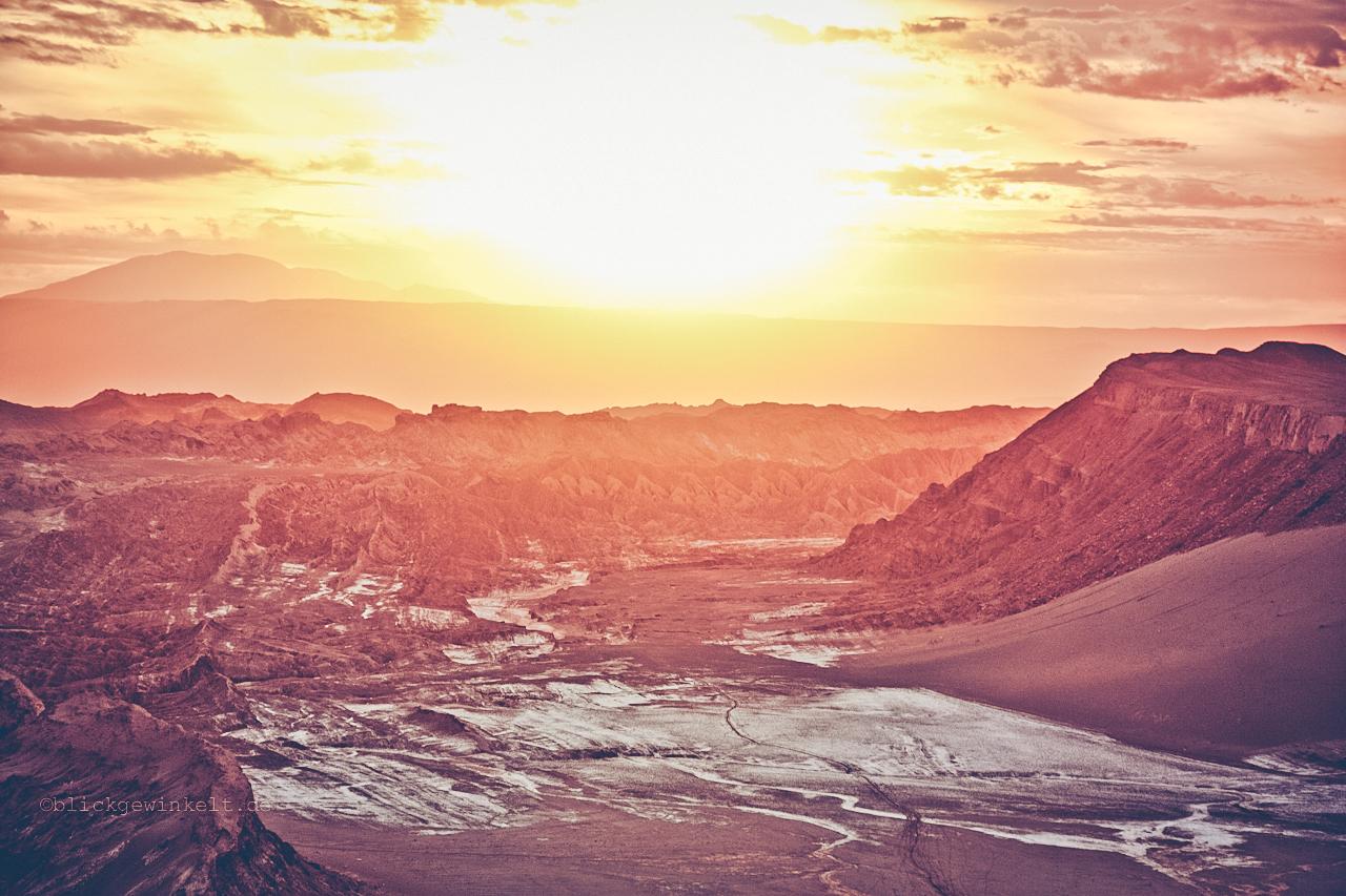 Sonnenuntergang im Valle de La Luna, Tal des Mondes, Chile