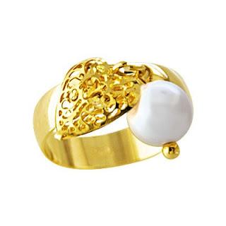 anel folheado a ouro com perola