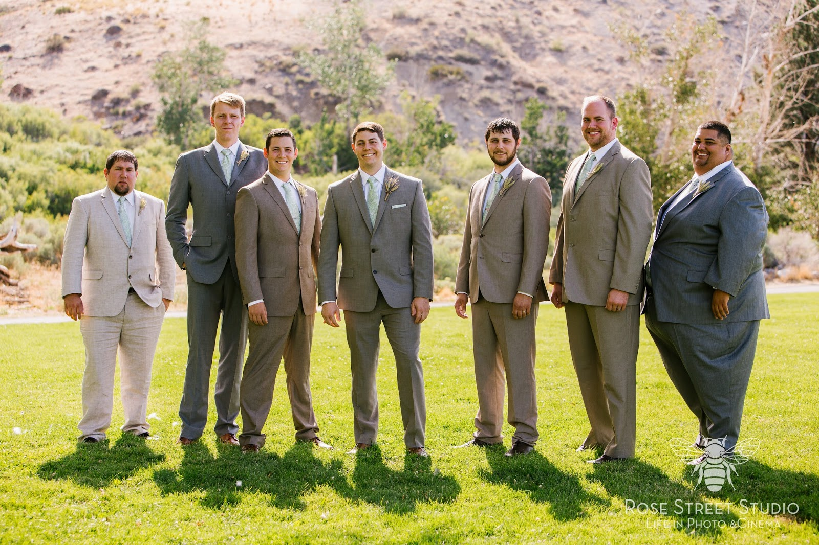 Groom and groomsmen in shades of grey l Rose Street Studio l Take the Cake Event Planning