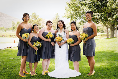 Bright yellow wedding bouquets & bridesmaids in deep grey l Lauren Lindley Photography l Hidden Valley Country Club l Take the Cake Event Planning