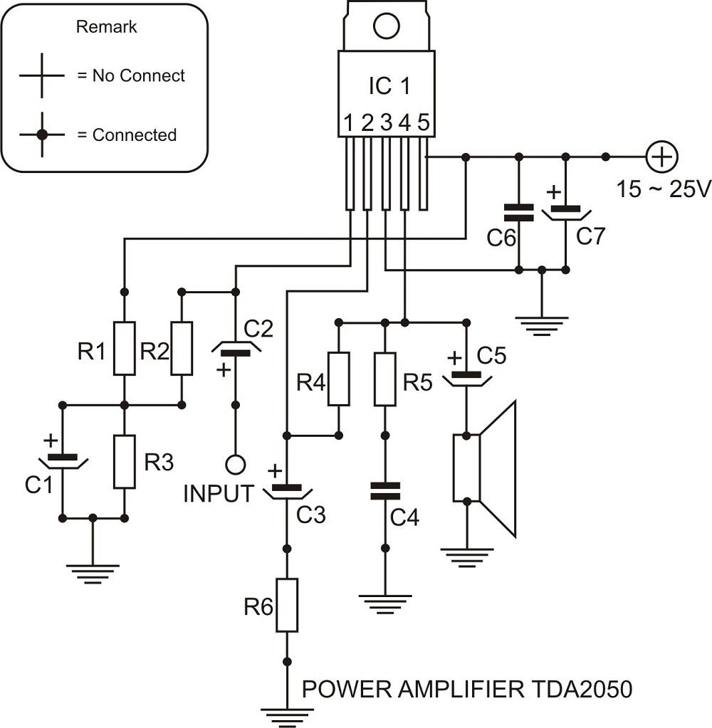 free schematic  power amplifier tda2050 schematic