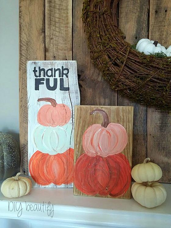 painted pumpkin topiary at www.diybeautify.com