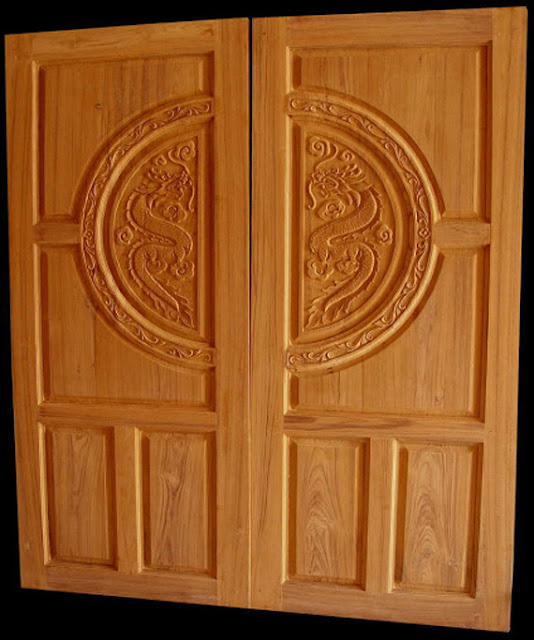 Double front door designs wood kerala special gallery for Wooden door pattern