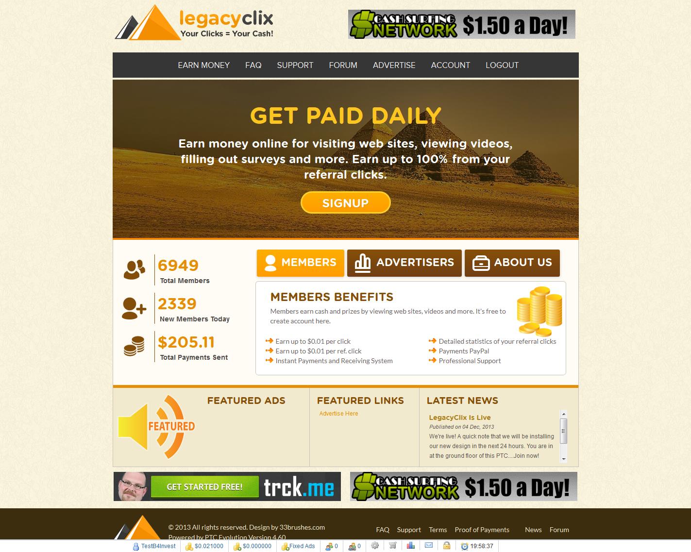 Gana dinero con Legacyclix nueva PTC - Dejamos de promocionar