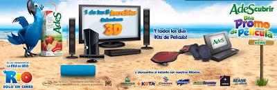 premios 1 pantalla LG 3D Led 55 pulgadas, 1 teatro en casa samsung 3D, 1 consola de videojuegos x-box kinect, 4 lentes 3D LG, 1 videojuego Rio,1 entrada al establecimiento toka +kota gratis, 1 pelicula de Rio formato 3D concurso Ades Mexico 2011