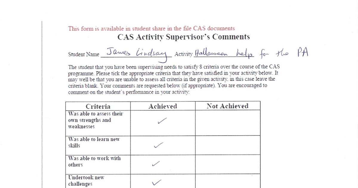 Haunted House CAS Project Supervisor Form (Creativity, Service ...