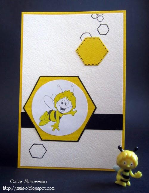 пчелиная открытка, открытка в пчелином стиле, бумажная открытка своими руками