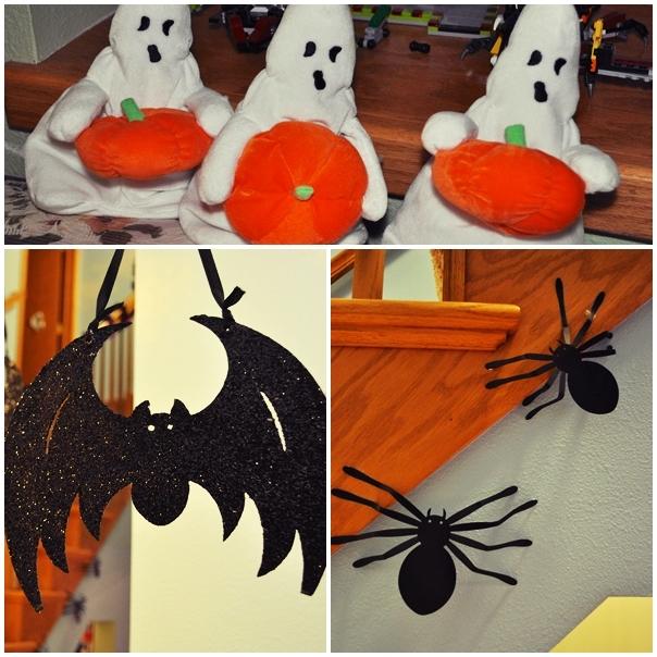Decoración de Halloween: fantasmas, arañas y murciélago