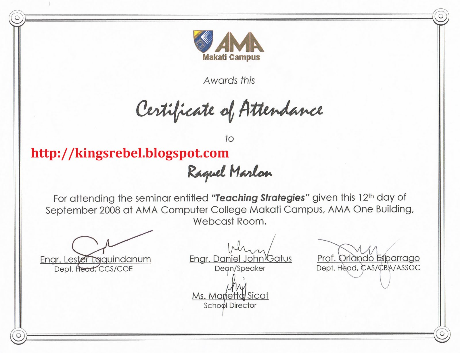 Tidbits and bytes example of certificate of attendance for Certificate of attendance seminar template