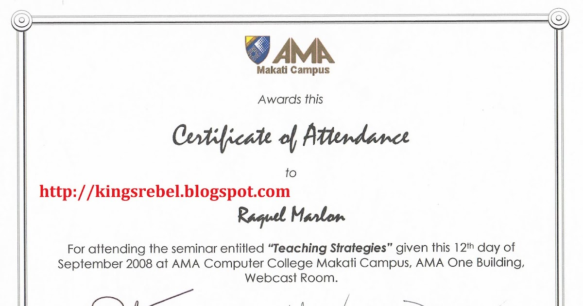 Tidbits and Bytes: Example of Certificate of Attendance - Teaching ...