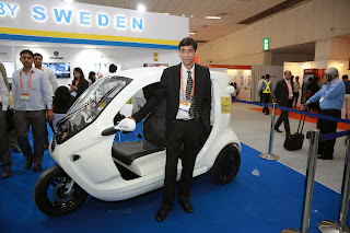 Zbee – The Path-breaking Electric Vehicle from the Swedish company Clean Motion, showcased at the ongoing Indo – Swedish Smart City Expo