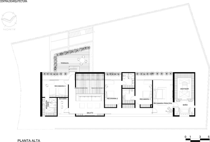 First floor plan of House La Punta by Central de Arquitectura