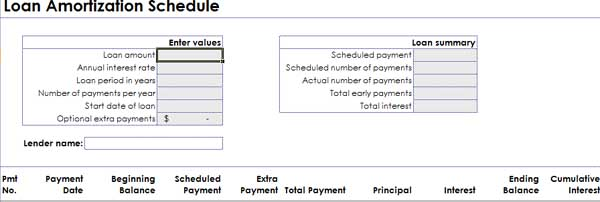 microsoft word templates  loan amortization schedule report
