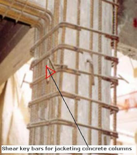 Shear key bars for jacketing concrete columns