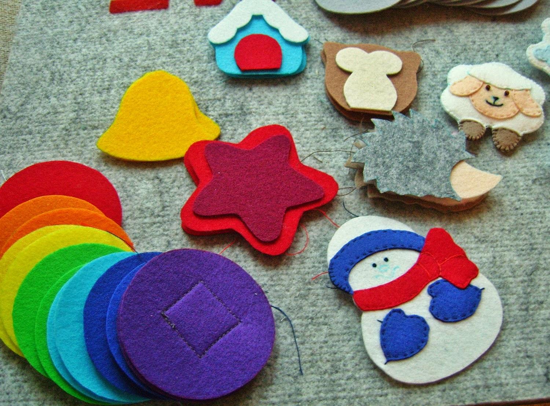 Новогодние игрушки из фетра для развивающей елочки
