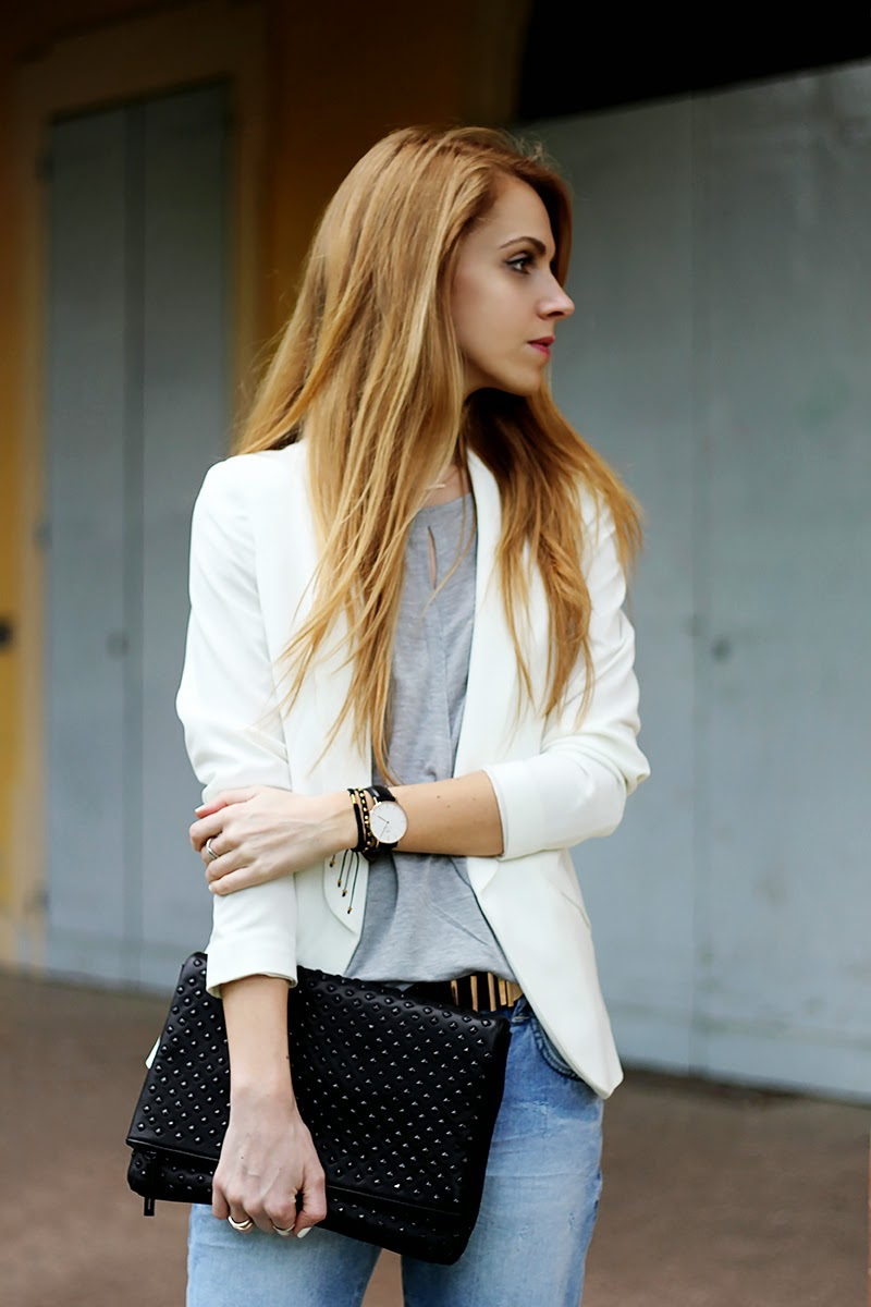 distressed Zara boyfriend jeans, white blazer, studded clutch