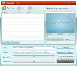 GiliSoft Video Converter: Converting Videos of all formats like AVI, MPEG, WMV, DivX, MP4, H.264/AVC, AVCHD, MKV, RM, MOV, XviD, 3GP, and audio MP3, WMA, WAV, RA, M4A, AAC, AC3, OGG.
