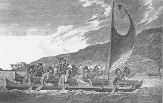 'Priests traveling across Kealakekua bay for first contact rituals'.Grabado de John Weber, artista genial a bordo de la tripulación del Capitán Cook. Tomado de 'Hawai`i Looking Back: An illustrated History of the Islands' de Glenn Grant
