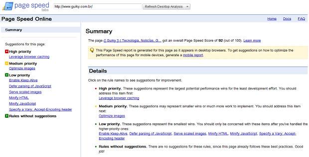 Ferramenta Page Speed Online