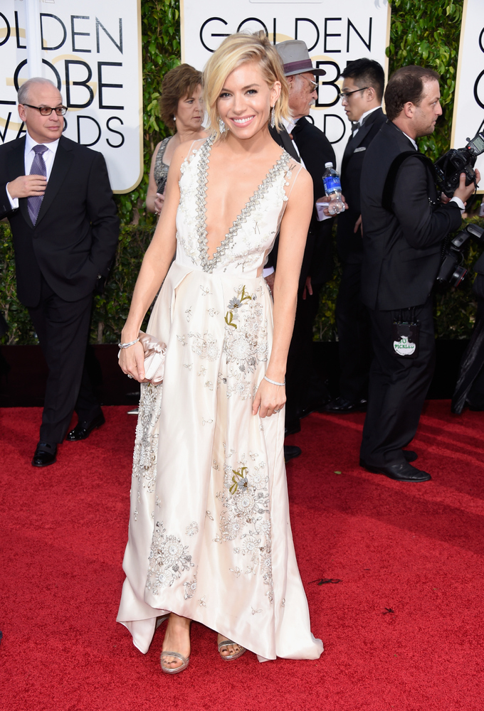 Sienna Miller in Mui Mui at the Golden Globes