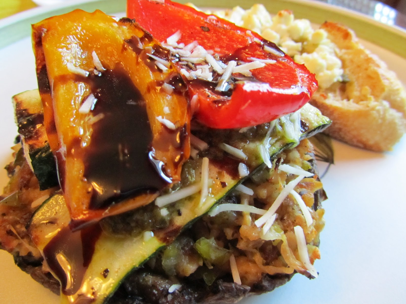 ... STACKED WITH GRILLED VEGGIES, and PESTO AND GOAT CHEESE CROSTINI
