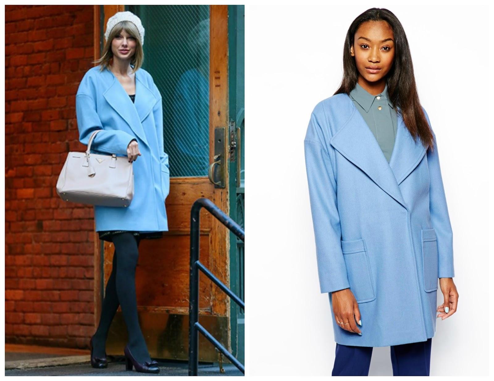 taylor swift asos blue boyfriend coat