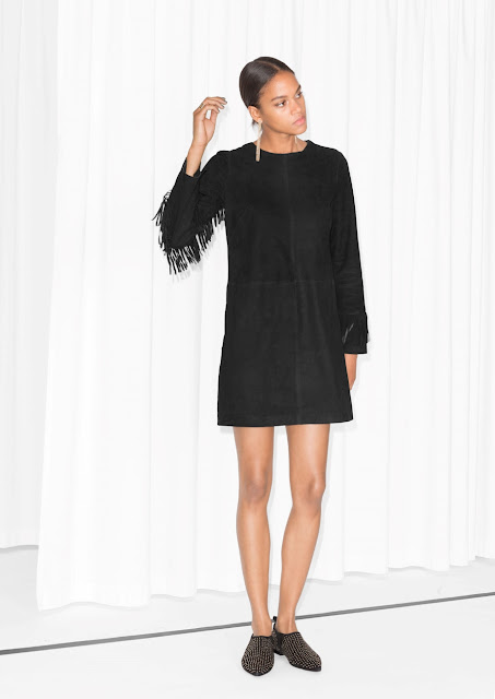 black suede fringe dress, suede tassel dress, stories suede dress,