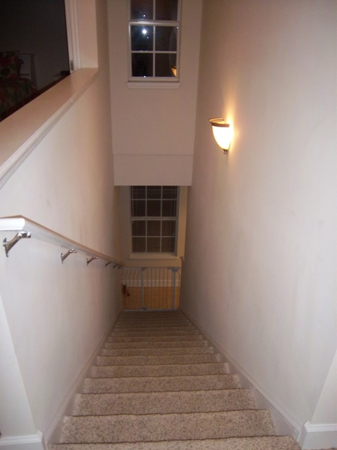 Now I, Foolish Me, Decided To Paint This Whole Stairway Myself Awhile Ago.  I Did Not Use Any Type Of Ladder, And Pulled This Off By Attaching Trim  Pads To ...