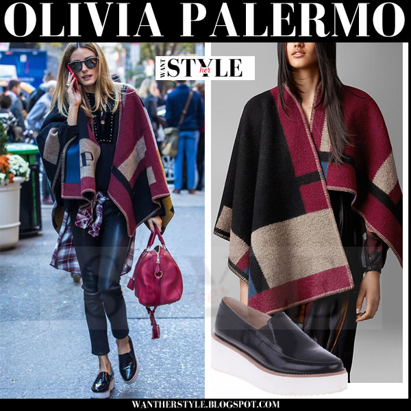 Olivia Palermo in Burberry blanket coat, black leather pants and black platform sol sana tabbie loafers what she wore streetstyle