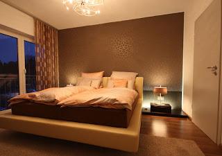 habitación matrimonial beige marrón