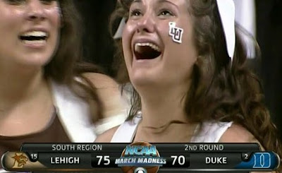 one of the poor Lehigh cheerleader's whose moment of joy was turned into a moment of national embarrassment