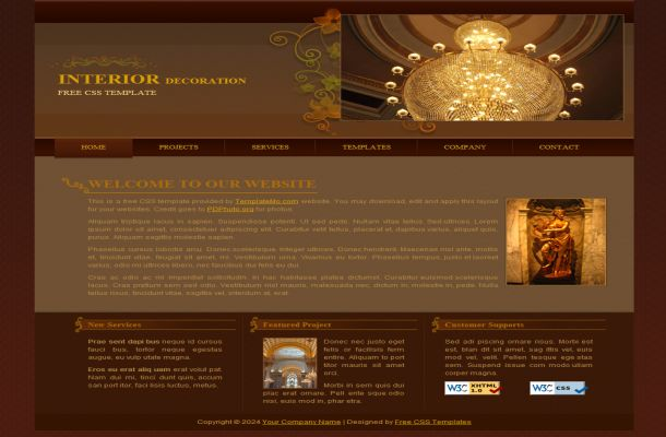Interior Design Brown Website Template Download