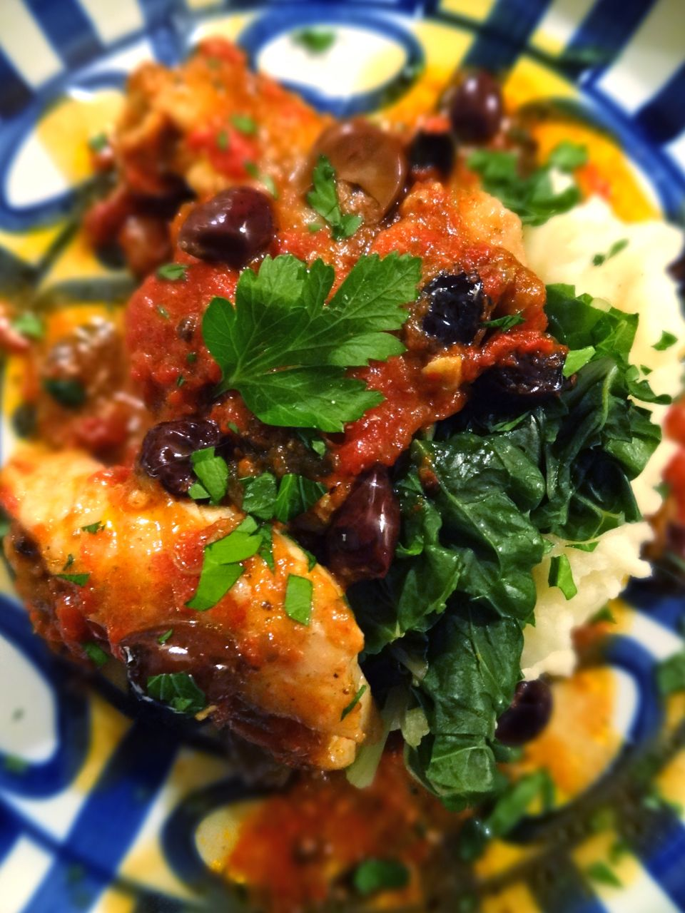 Scrumpdillyicious: Red Snapper with Tomatoes, Olives & Swiss Chard