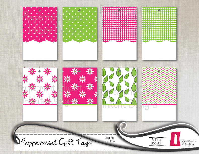 InkBite Designs: DIY Printable Gift Tags - Peppermint