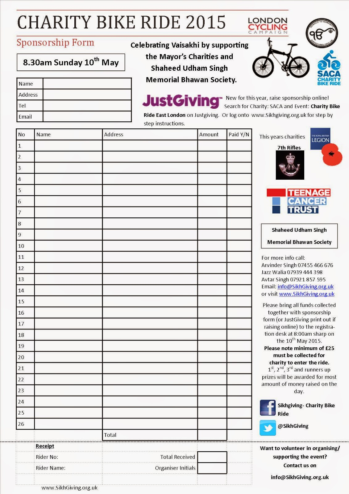 Charity Bike Ride 2015!  Charity Sponsor Form