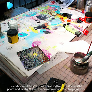 Messy Desk Happy Flowers using Crackle Stencil by Nat Kalbach for Stencil Girl.