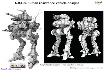 War of the Worlds Goliath ARES Human Resistance vehicle designs mecha concept art