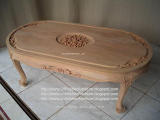 Furniture klasik meja kopi ukir halus meja kopi ukir mawar mahoni supplier meja klasik ukir mawar mentah unfinished meja kopi ukir jepara