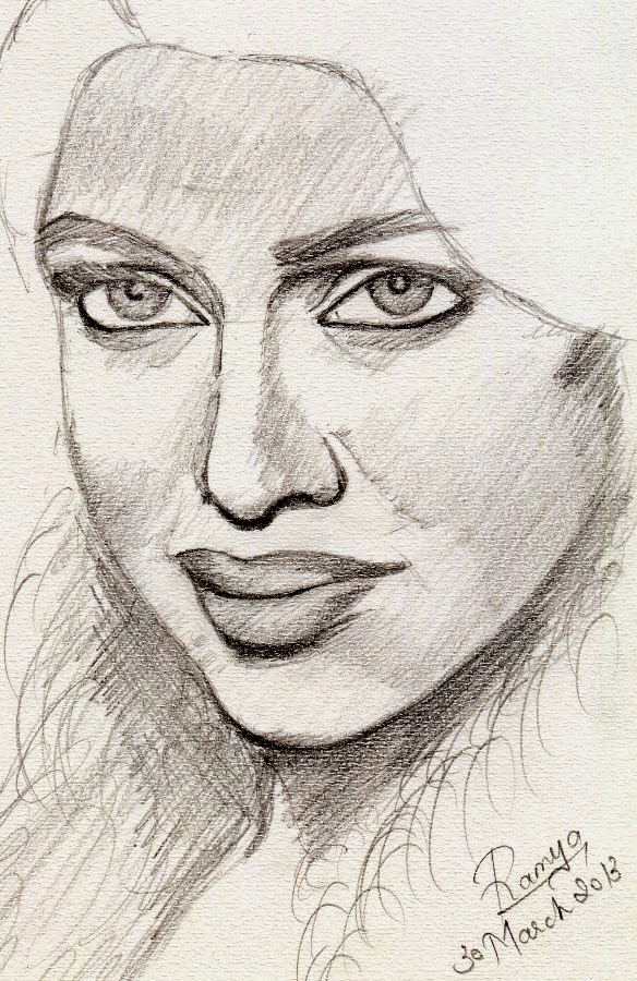 Pencil sketch free hand drawing of amala paul for Sketch online free