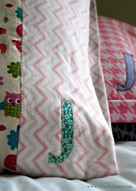 Machine Appliqued Initial on Pillowcase