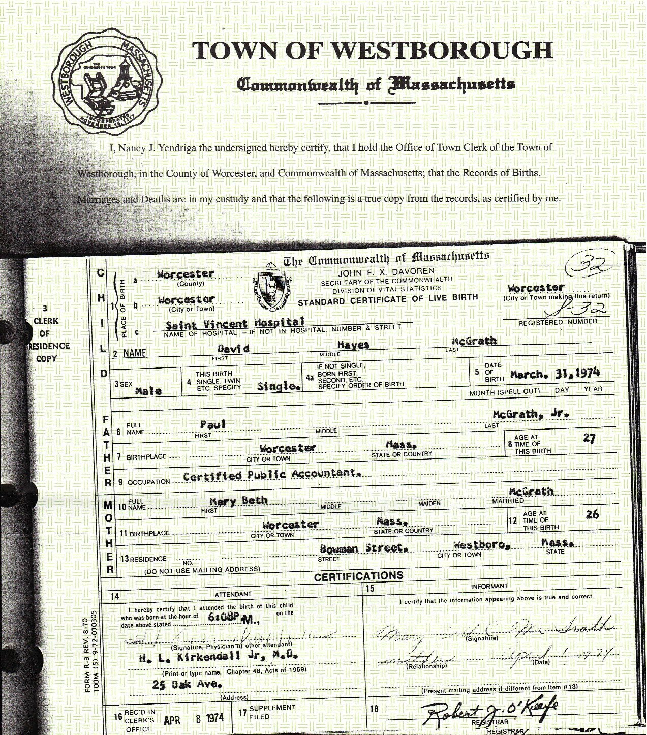 My Life Scanned My Birth Certificate