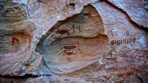 Pinturas rupestres en el Parque Nacional Siete Ciudades en Brasil