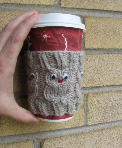 My Knitting Basket Owl Coffee Cup Cozie Pattern