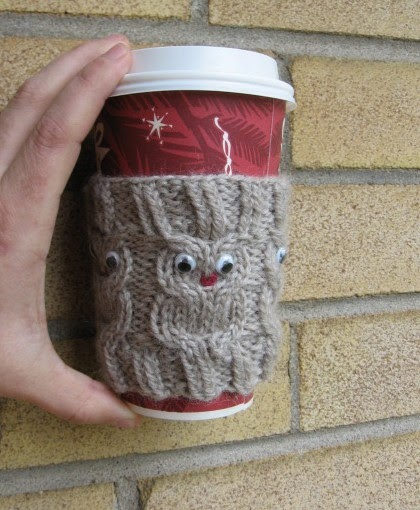 My Knitting Basket: Owl Coffee Cup Cozie pattern