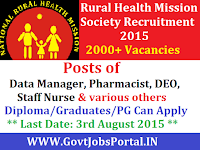 Jharkhand Rural Health Mission Recruitment 2015