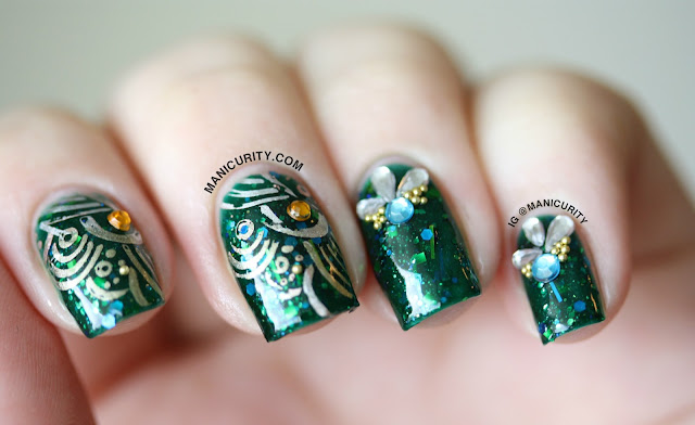 Manicurity | Ryūjin (Dragon God of the Sea) embellished Nail Art